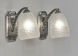 Hettier And Vincent Pair Of French 1930 Art Deco Wall Sconces .... Lamp . France