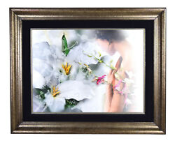 Yankel Ginzburg Dream-like Painting Of Woman W Superimposed Orchids