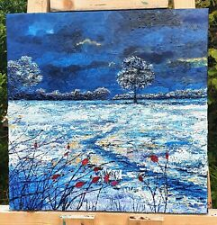 Original Landscape Painting Winter Snow Blue Countryside Wall Art Oil Textured