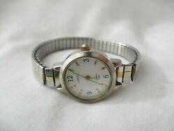 Carriage By Timex Watch Silver Gold Toned Expansion Band Water Resist White Face