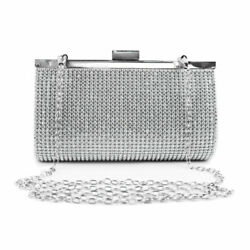 Charleena Crystal Clutch Women Evening Bag Purse Handbag Crossbody Party Wedding $17.99