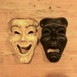 Antique 50's American Theater Mask Black And White Wall Hanging From Japan Used