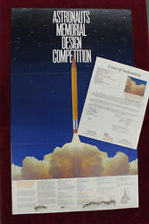 Neil Armstrong Signed Poster Astronauts Memorial Design Competition Auto Jsa Coa