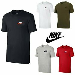 Nike Menand039s T-shirt Athletic Active Wear Crew Neck Dry Fit Swoosh Futura Logo Tee