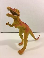 "Vintage Rubber Dinosaur Toy 8"" Figure Red amp; Yellow T Rex Raptor $20.00"