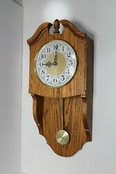Oak Wall Pendulum Clock Handcrafted Battery with Chimes Howard Miller like EUC