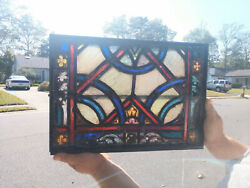 Antique Stained Glass Church Window Metal Framed Vent Transom 19c
