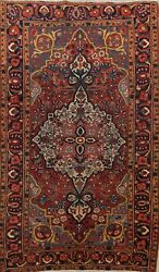 Antique Pre-1900 Vegetable Dye Traditional Area Rug Hand-knotted Wool Carpet 5x7