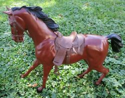 Vintage 1965 Louis Marx And Co. Plastic Horse With Tack