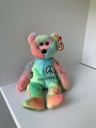 Ty Beanie Baby Peace Bear With Excellent Colorway And Tag Errors
