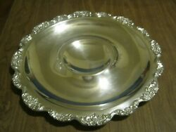 Vintage Epca 15 Round Silver Plate Floral Serving Tray By Poole Mw-61-6
