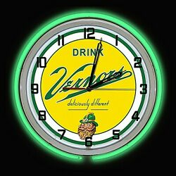 19 Vernors Deliciously Different Ginger Ale Sign Green Double Neon Clock
