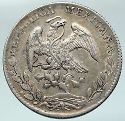 1886 Zs Js Mexico Big Antique Eagle Vintage Mexican Silver 8 Reales Coin I86902