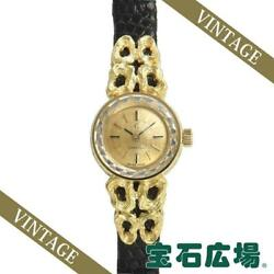 Omega Round 2 Needles 246 Ladies Yellow Gold Champagne Dial From Japan [e1026]