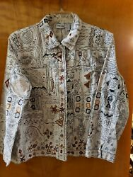 Chicos Size 3 Womenand039s Blazer Jacket Embroidered Cotton Long Sleeve