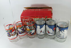 Coca Cola Bear Cubs And Seal Snow Tumbler Glasses - Qty 6 New Indiana Glass