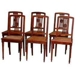 Six Antique French Louis Xvi Mahogany Cane Seat Chairs, Early 20th Century