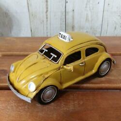 Yellow Cab Taxi Tin Plate Model Toy Car 8.7 Cm Beetle-shaped From Japan Used