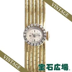 Bucherer 2 Needles Ladies Yellow Gold Silver Dial Manual From Japan [e1027]