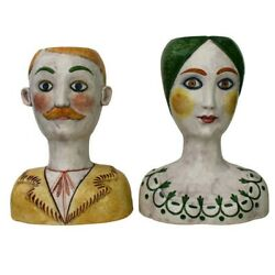 Mid-century Signed Horchow Italy Large 16man And Women Bust Vases.andnbsp