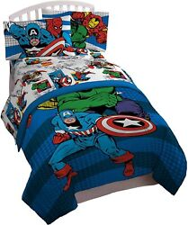 Jay Franco Comics Avengers Good Guys 4 Piece Twin Bed Set Offical Marvel Produc