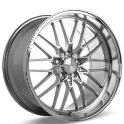 4ea 19 Staggered Ace Alloy Wheels Aff04 Silver With Machined Face Rimss41
