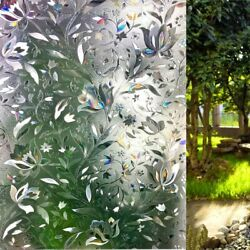 Rabbitgoo Window Film Privacy Stained Glass 3d Frosted Decoration Floral Film