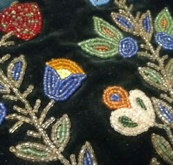 Chippewa Beaded Wall Pocket Pouch Velvet Antique Northern Woodlands Beadwork