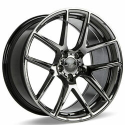 4ea 22 Staggered Ace Alloy Wheels Aff02 Black Chrome Rimss41