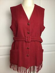 Vintage The Limited Womenandrsquos Wool Cashmere Blend Red Fringed Belted Vest L