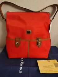 Dooney and Bourke Large Nylon Leather Hobo Red Bag $89.00