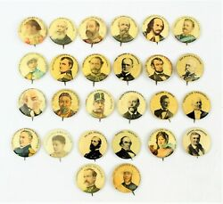 Lot Of 26 Antique Pepsin Gum National Heroes Pinback Buttons