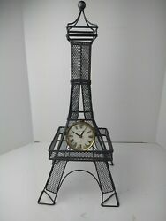 Eiffel Tower Clock Metal And Wire Mesh Poirot And Germain 20 Tall Antracit Color