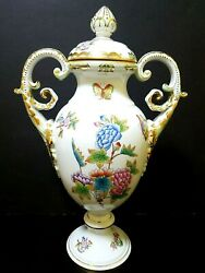 Herend Queen Victoria Vbo Large Urn Vase Floral And Butterlies