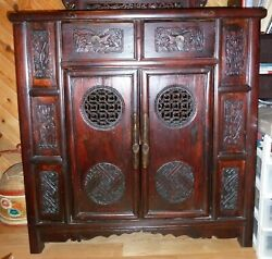 Antique Chinese Wooden Cabinet / Hand Carved Panels / Early 1900's