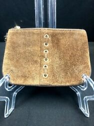 Coach Brown Seude Lace on Front Skinny mini tiny Wristlet Coach lining amp; Fob $14.99