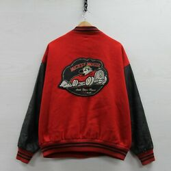 Vintage Mickey Mouse Racing Disney Leather Wool Bomber Jacket Size XL 90s $89.99