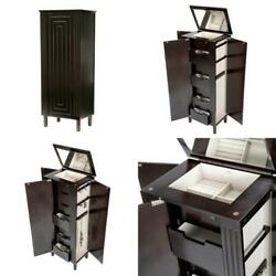 Sicily Java Wooden Jewelry Armoire Art Decor Style Routed Detailing On Front