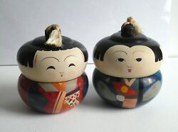 1950andrsquos 2 Piece Set Japanese Kokeshi Doll Lacquer Ware Lidded Bento Box Teacup