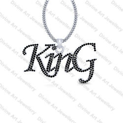 Hip Hop King Pendant 925 Sterling Silver King Pendant Necklace Hip Hop Jewelry