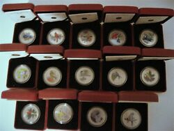 Birds Of Canada 2007-2014 Complete Set Of 14 Oversized 25c Coloured Coins + Coa