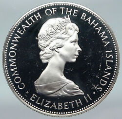 1972 Bahamas Queen Huge Pirate Defeat Motto Old Vintage Silver 5 Coin I87081
