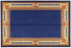 Rare Fine Hand Knotted Wool / Silk Versace Style Rug Carpet Blue 6and039 7x 9and039 10