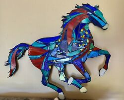 Stained Glass Mosaic Horse Wall Sculpture Ranch Barn Farm Country Rustic Decor