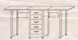 Nisb Double Sided Sewing Desk Approx 16'x65x28 Dark Cherry 5 Drawers