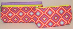 2 Clinique Cosmetic Bag Set PINK Purple Diamond Toiletry Travel Case Makeup Lot $8.90
