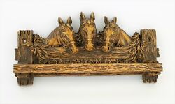 Vintage Ornawood Horse Tie Rack Wall Mount - High Relief Details - 10.5 Long