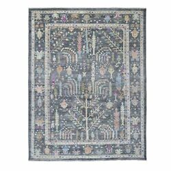 8and0399x11and0397 Soft Wool Hand Knotted Gray With Tree Design Angora Oushak Rug G55247