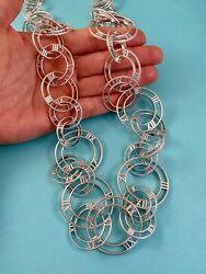 And Co Sterling Silver Atlas Numeral Open Link Necklace 36andrdquo. Rare Retired