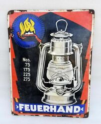 Old Feuerhand Oil Lamp Porcelain Enamel Sign Board No. 75 Advertise Collectible